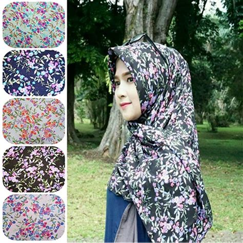 hijab segi empat motif bunga humairah  terbaru  trend fashion style hijab  terbaru