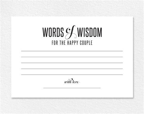 Words Of Wisdom Wedding Advice Printable