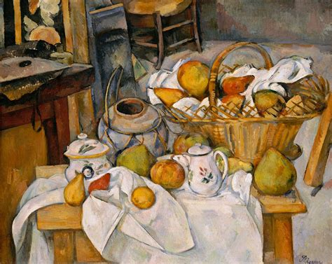 paul cezanne la table de cuisine nature morte au panier