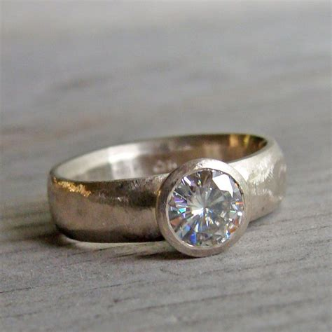 moissanite ring solitaire engagement ring in recycled