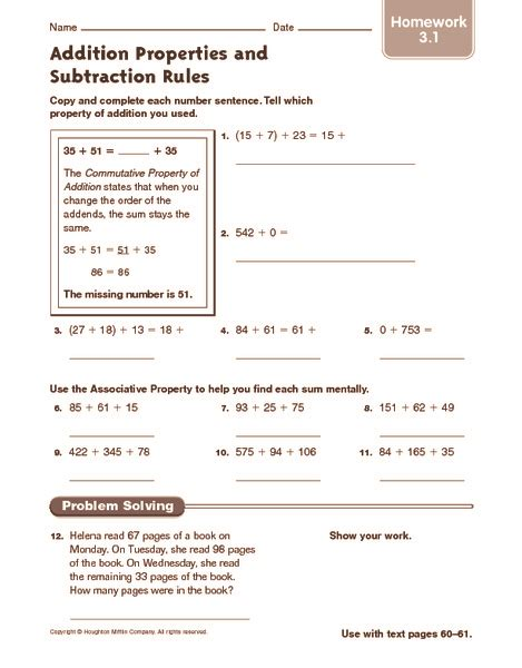 Associative Property Of Addition Worksheets 3rd Grade  Addition Properties And Subtraction