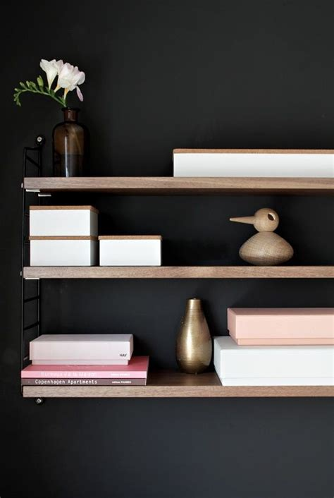 workspacehome office black walls  timber shelves