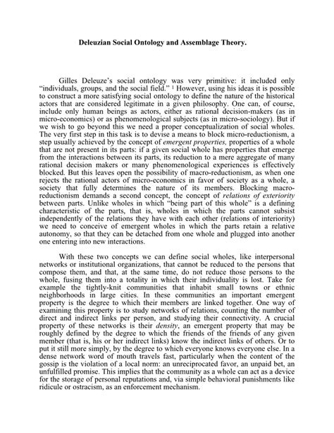deleuzian social ontology  assemblage theory
