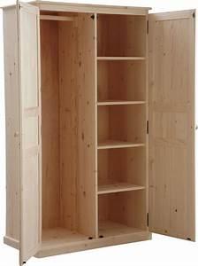 Armoire Bois Blanc : armoire bois brut 2 portes ~ Teatrodelosmanantiales.com Idées de Décoration