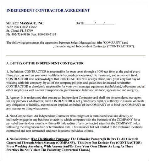 subcontractor agreement templates sample templates