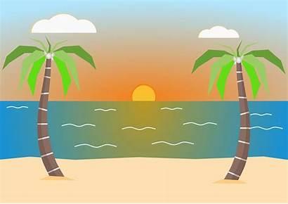 Pantai Sand Gambar Palm Vektor Pemandangan Trees