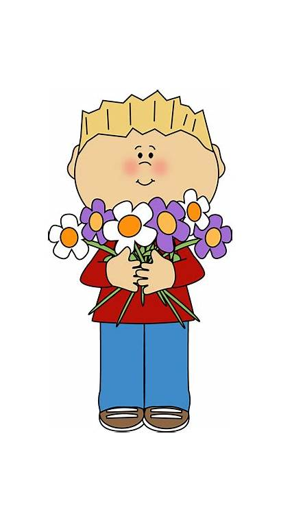 Flowers Bunch Flower Boy Clipart Clip Holding