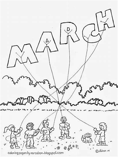 March Coloring Pages Month Sheets Printable Months