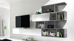 Meuble Tv Avec Etagere : meuble tv suspendu athyn finition laqu e blanche mobilier moss ~ Teatrodelosmanantiales.com Idées de Décoration