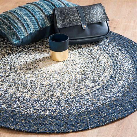 tappeto rotondo grigio tappeto rotondo in cotone bianco e grigio 90 cm