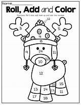 Math Coloring Dice Christmas Reindeer Kindergarten Preschool Numbers Activities Roll Pages Adding Fun Sheets Number Worksheets Interactive December Word Template sketch template