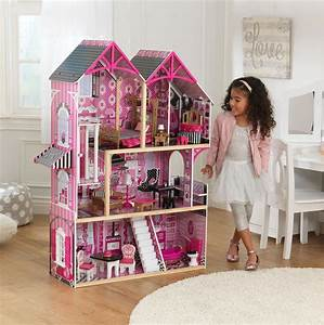 Kidkraft wood bella dollhouse playset in pink with 16 for Kidkraft lantern floor lamp
