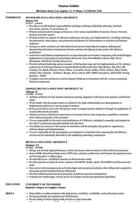 Data Architect Resume by Big Data Solution Architect Resume Sles Velvet
