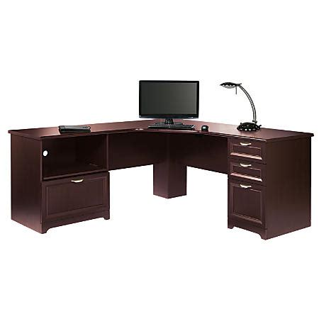 realspace magellan l shaped desk cherry realspace magellan performance collection l desk cherry by