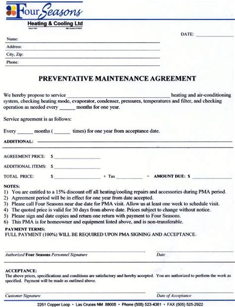 Service Contract Template Service Agreement Contract Form Maintenance Contract