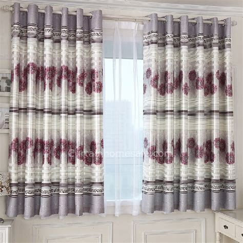 gray floral curtains gray polyester printed with burgundy bay window
