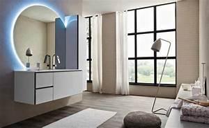 31 idees originales belles photos de salle de bain moderne With carrelage adhesif salle de bain avec luminaire led miroir salle de bain