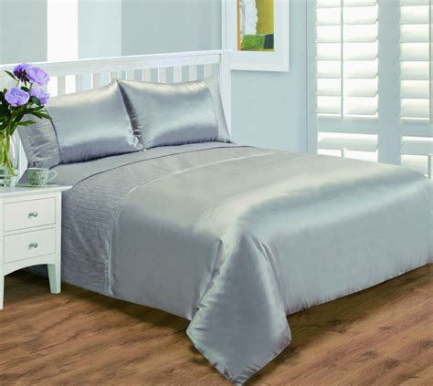 silver grey stylish crinkle textured faux silk duvet cover