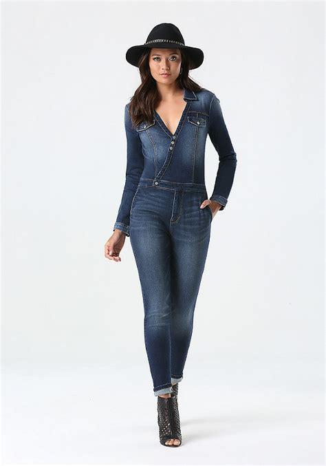 blue jumpsuit womens blue jean jumpsuit fashion ql