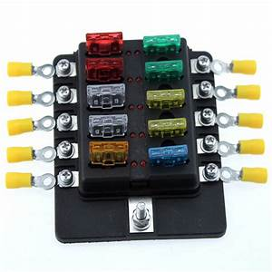 Newest 10 Way Car Blade Fuse Box Truck Marine Boat Rv Led