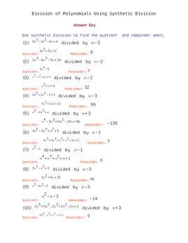 synthetic division of polynomials worksheet with answer key by easy math