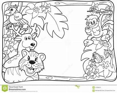 Jungle Coloring Safari Pages Printable Clipart Animal