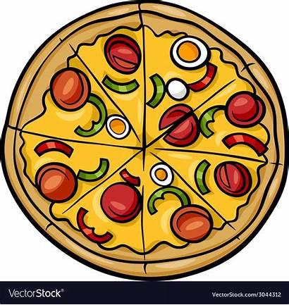 Pizza Cartoon Italian Vector Clipart Half Illustration