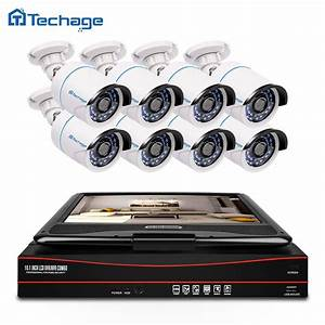 Techage 8ch 1080p Cctv System Poe Nvr Kit With 10 1 Lcd