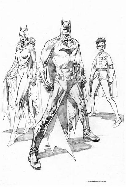 Batman Robin Pages Batgirl Coloring Adult Drawing