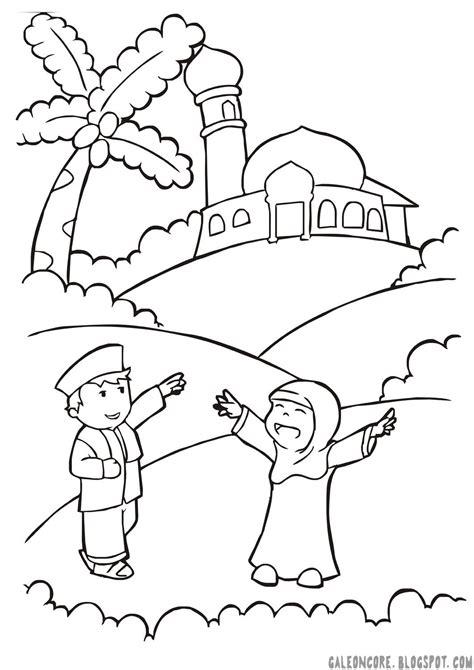 gambar mewarnai anak pergi ke masjid