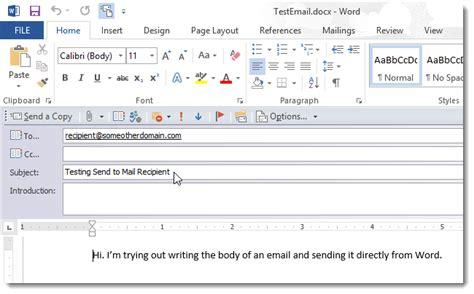 how to send a word document as the of an email message