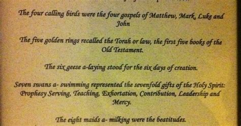 Biblical Meaning Of The 12 Days Of Christmas I Found This While Looking A British Christmas