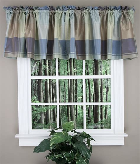 Blue Green Valance by Plaid Tailored Valance Blue Green United Curtain