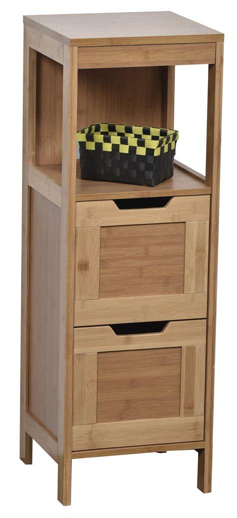 colonne meuble bas de salle de bain en bambou meubles