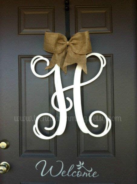 monogram letter interlocking script initial wooden monogram   front door home