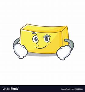 Smirking butter character cartoon style Royalty Free Vector