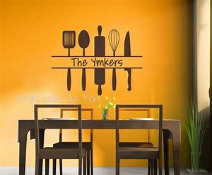 personalized kitchen wall art custom name with utensils With kitchen colors with white cabinets with printable vinyl stickers
