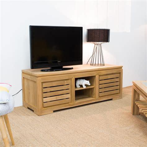 meuble tv de salon en bois de teck massif zen rectangle