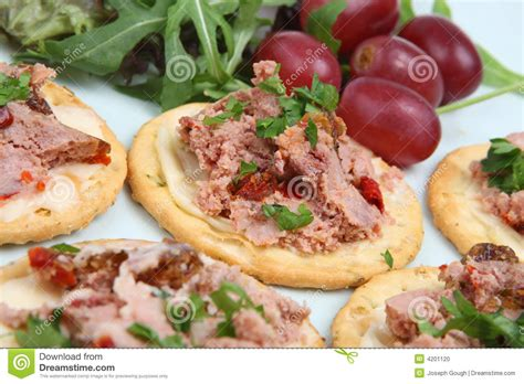 canape biscuit pate biscuit canapes stock photo image 4201120