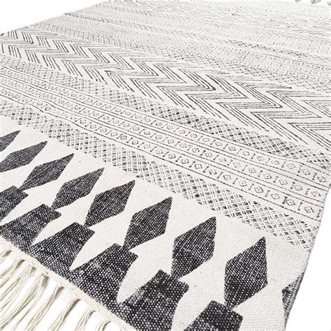 black and white accent rug white black cotton block print area accent flat weave
