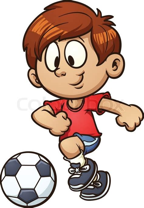 playing cartoon cartoon kid playing soccer vector clip art illustration