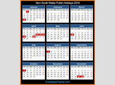 New South Wales Australia Public Holidays 2019