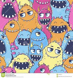 Pattern With Cute Cartoon Monsters. Stock Vector - Image ...
