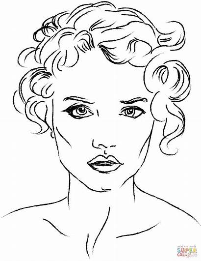 Coloring Face Pages Woman Womans Printable Drawing