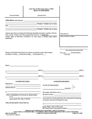 state bar of wisconsin form 3 2003 quit claim deed fillable online state bar of wisconsin form 3 2003 quit