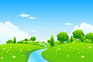 Field clipart river landscape - Pencil and in color field ...