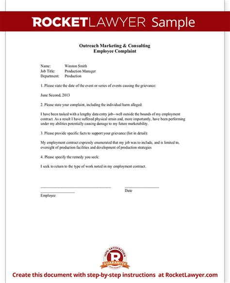 employee complaint form letter template sample