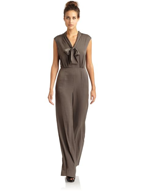 grey jumpsuit womens bcbgmaxazria acedia tieneck satin jumpsuit in gray