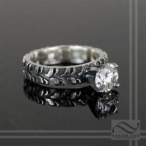 ladies narrow tire tread ring with cz sterling silver on With mud tire wedding ring sets