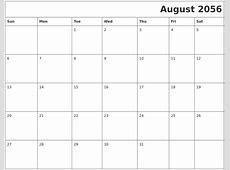August 2056 Download Calendar